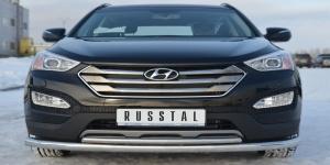 Hyundai Santa Fe 2012- Защита переднего бампера d76/42 (секции-дуга)  HSFZ-001220